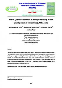 Water Quality Assessment of Pahuj River using Water ...