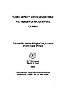 WATER QUALITY, BIOTIC COMMUNITIES AND
