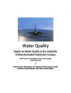 Water Quality - Canadian Rivers Institute