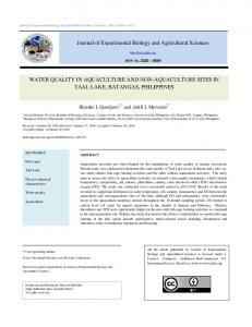 WATER QUALITY IN AQUACULTURE AND NON-AQUACULTURE ...