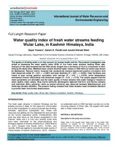 Water quality index of fresh water streams ... - Academic Journals