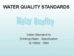 water quality standards - India Water Portal
