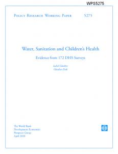 Water, Sanitation and Children's Health - Sanitation Updates