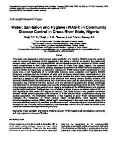 Water, Sanitation and Hygiene (WASH) in Community ... | ResearchGate