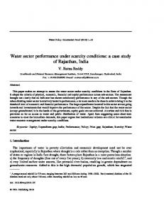 Water sector performance under scarcity conditions - India ...