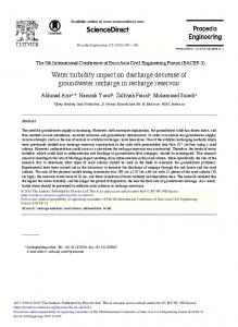 Water Turbidity Impact on Discharge Decrease of Groundwater ... - Core