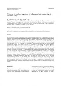 Water use of tree lines: importance of leaf area and micrometeorology ...