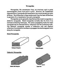 Waveguides Waveguides, like transmission lines, are structures ...