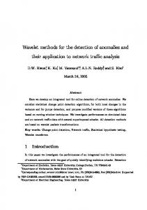 Wavelet methods for the detection of anomalies and their application ...