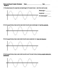 Waves and Sound Practice Worksheet Name - LearningXchange!