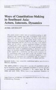 Ways of Constitution-Making in Southeast Asia: Actors ...