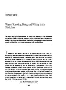 Ways of Knowing, Doing,and Writing in the Disciplines