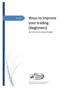 Ways to improve your trading (Beginners)