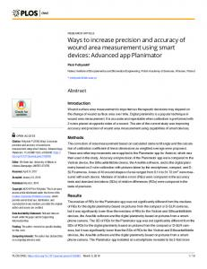 Ways to increase precision and accuracy of wound area ... - PLOS