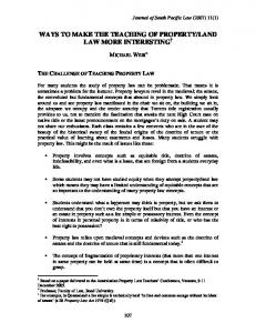 ways to make the teaching of property/land law more interesting