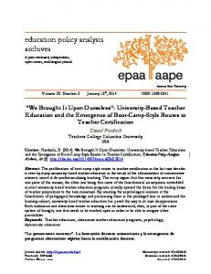 We Brought It Upon Ourselves - Education Policy Analysis Archives
