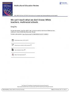 We can't teach what we don't know: White teachers ...