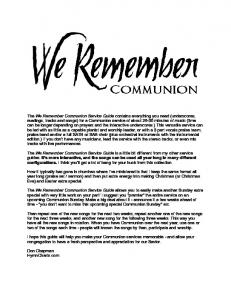 We Remember - HymnCharts