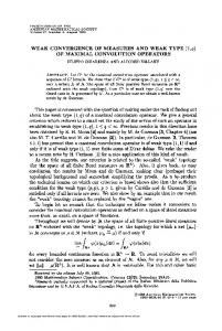 WEAK CONVERGENCE OF MEASURES AND WEAK TYPE (l,a) OF ...