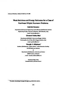 Weak Solutions and Energy Estimates for a Class of ... - CiteSeerX