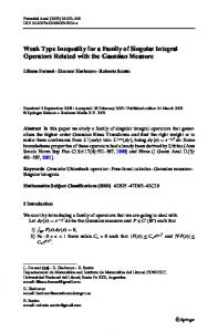 Weak Type Inequality for a Family of Singular Integral ... - Springer Link