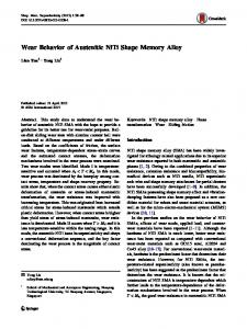 Wear Behavior of Austenitic NiTi Shape Memory Alloy | SpringerLink