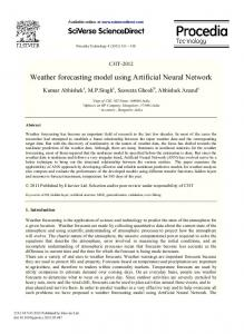Weather forecasting model using Artificial Neural ... - Semantic Scholar