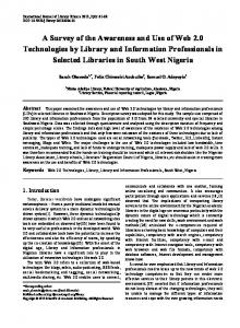 Web 2.0 Technologies, Library, Library and Information Professionals
