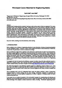 Web-based Course Materials for Engineering Statics