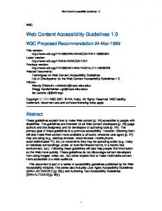 Web Content Accessibility Guidelines 1.0 - World Wide Web Consortium