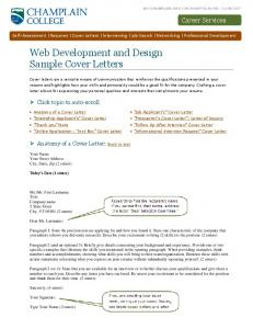 Web Development and Design Sample Cover Letters