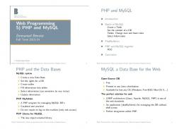 Web Programming 5) PHP and MySQL PHP and MySQL PHP and ...
