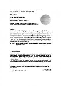 Web Site Evolution - Wiley Online Library