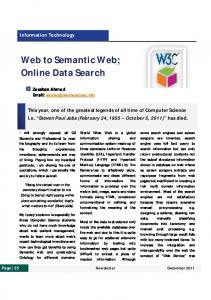 Web to Semantic Web; Online Data Search