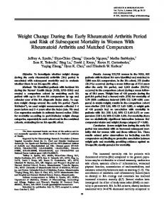 Weight Change During the Early Rheumatoid ... - Wiley Online Library