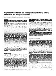 Weight-control behaviors and subsequent weight change among ...
