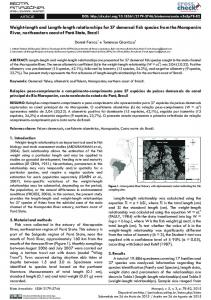 Weight-length and Length-length relationships for 37 demersal fish ...
