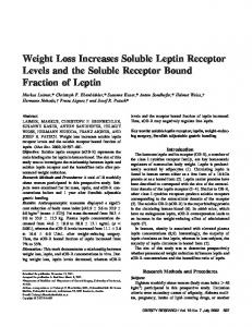 Weight Loss Increases Soluble Leptin Receptor ... - Wiley Online Library