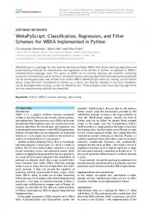 WekaPyScript: Classification, Regression, and Filter Schemes for ...