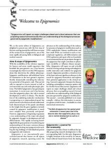 Welcome to Epigenomics - Future Medicine