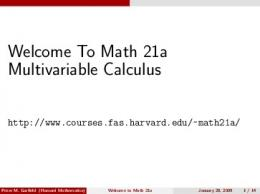 Welcome to Math 21a