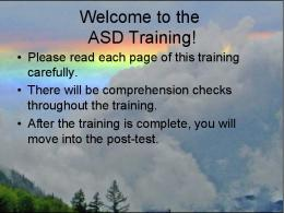Welcome to the ASD Training!