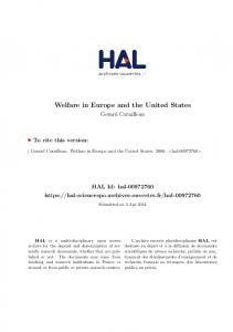 Welfare in Europe and the United States - SciencesPo