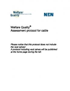 Welfare Quality Assessment protocol for cattle - Welfare Quality Network
