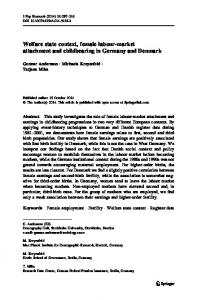 Welfare state context, female labour-market attachment and ... - OPUS 4