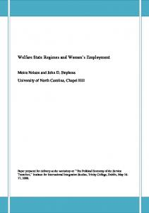 Welfare State Regimes and Women's and Service Sector Employment