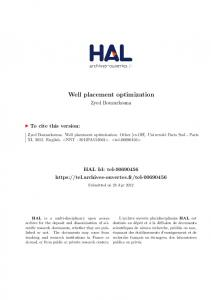 Well placement optimization - Tel Archives ouvertes - Hal