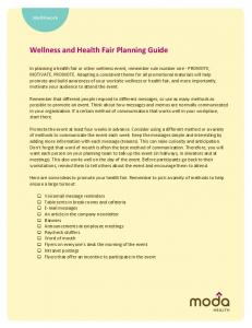 WELLNESS AND HEALTH FAIR PLANNING GUIDE