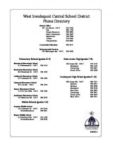 West Irondequoit Central School District Phone Directory