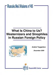Westernizers and Sinophiles in Russian Foreign Policy